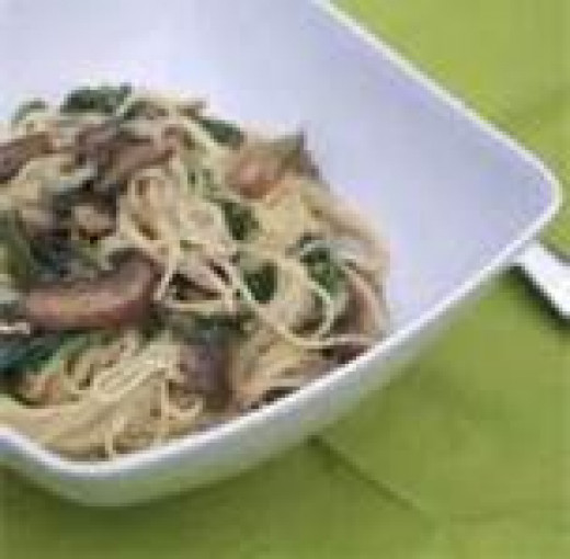Sauteed Mushrooms & Spinach over Angel Hair Pasta
