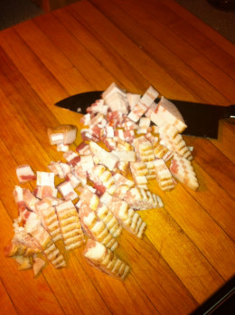 Cut the bacon into small pieces.