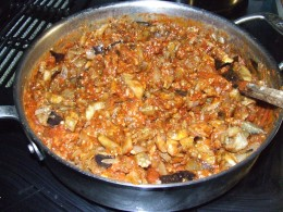 Saute' the eggplant and onion and add tomato sauce.  Simmer until most of liquid is gone.