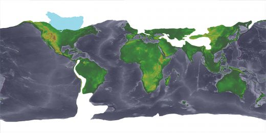 This maps shows how the continents were joined during the later part of the last major ice age 13,000 years ago.