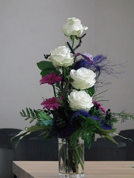 This floral arrangement would be an appropriate gift in many countries.