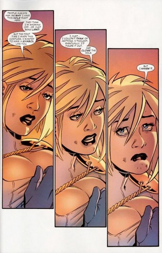 Power Girl Explains The Window In Her Costume