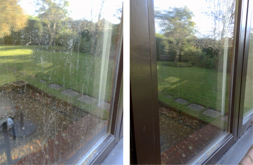On the left, the dirty window. On the right, the window after cleaning.