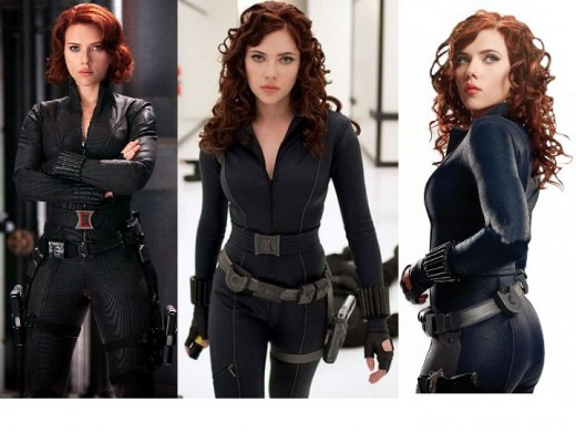 Scarlett Johansson as Black Widow in Avengers and Iron Man