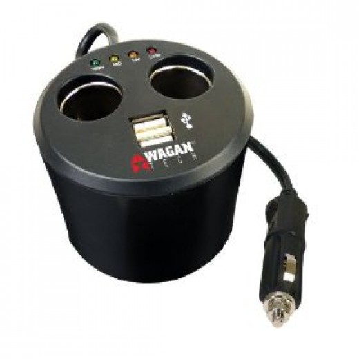 Wagan Twin USB/DC Cup Holder Adapter