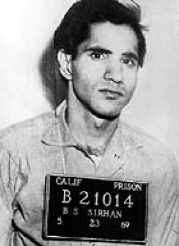 Sirhan Sirhan's mugshot photo taken after he was arrested for RFK's murder