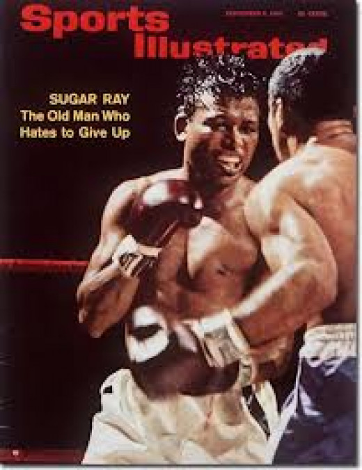 Sugar Ray on the cover of Sports Illustrated. Ray Robinson has won the welterweight crown and the 160 pound championship five times in his career.