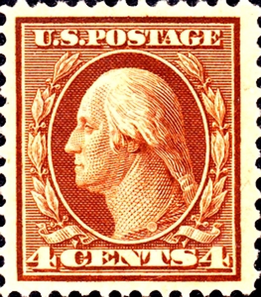 A George Washington stamp of United States, issued in 1908