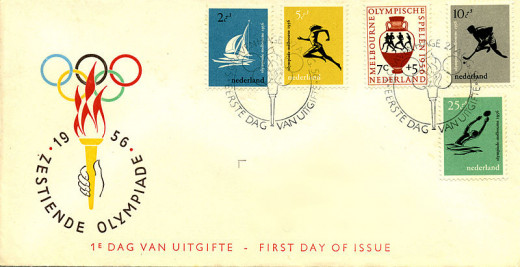 First Day Cover issued by Nederland Post on the occasion of 1956 Olympics.