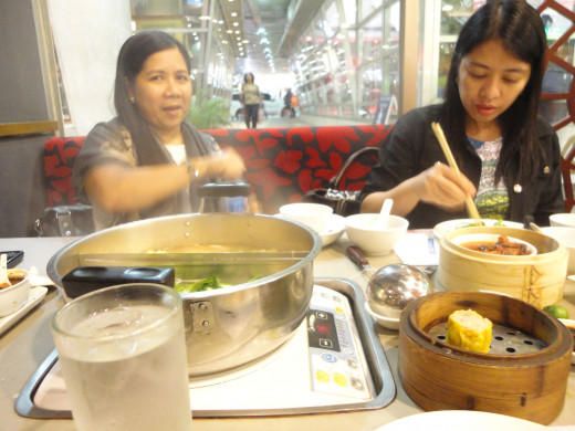 Friends enjoying the shabu shabu
