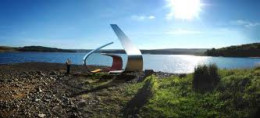 More modern art - stainless steel Janus Chairs by the lakeside