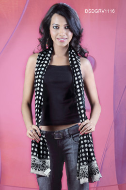 Polka Dotted Printed Black Cotton Stole from Cbazaar