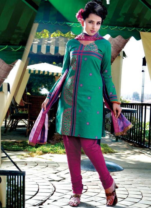 Dark Aqua Green and Magenta Churidar Suit with Dupatta from Cbazaar.