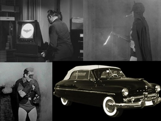 Batman 1949 Serial Gadgets: Batsignal, Bat Breather, Bat Blow Torch and Batmobile