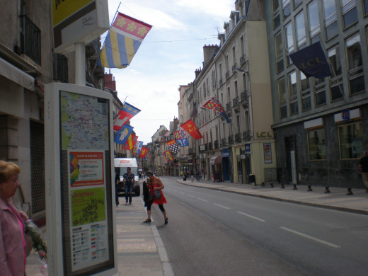Flags of the departments of Burgundy across the street near Palace of the Dukes.