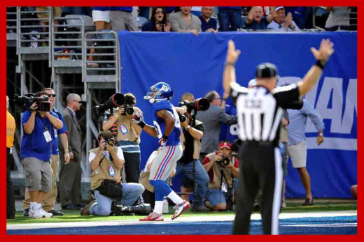 Victor Cruz as he scores the winning TD against The Washington Redskins on Sunday Oct. 21, 2012