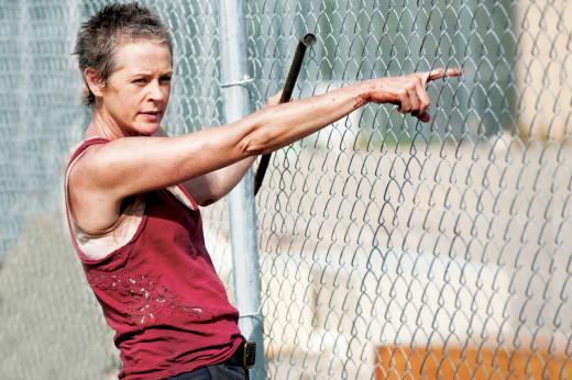 Screen shot of Carol (McBride) in season 3 of The Walking Dead