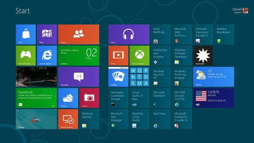 "The new ""Metro View"" in Microsoft Windows 8 Operating System"
