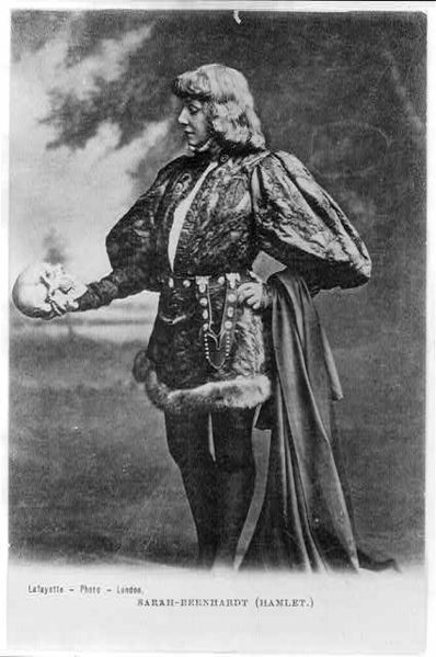 For some reason I couldn't find a picture of a stuffed mouse dressed up like Hamlet, so I had to settle for Sarah Bernhardt instead.