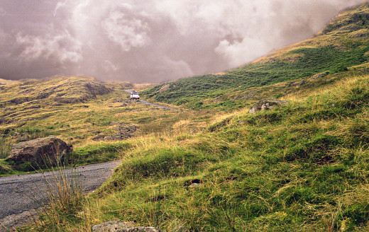 Hardknott Pass in the Lake District National Park, Cumbria, England.
