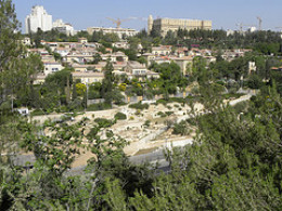 """The Hinnom Valley View west from outside the Old City of Jerusalem, looking across the Hinnom valley. This valley's name was corrupted to """"Gehenna"""" and became associated with the place of torment for the wicked dead. This is likely because the valle"""