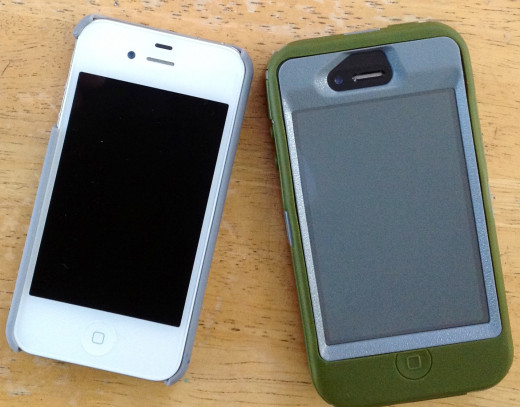 My iPhone in a simple hard shell, my husband's in its Defender.