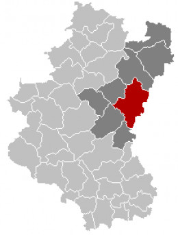 Map location of Bastogne, in the Belgian province of Luxembourg