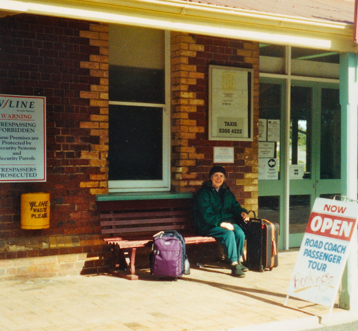Waiting for the Bus at Stawell Train Station