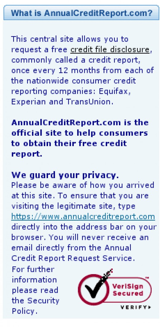 Shot of AnnualCreditReport VeriSign and their brief explanation of who they are.