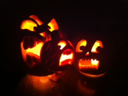 One of the benefits of our media fast was more time to work on this angry family of jack-o-lanterns