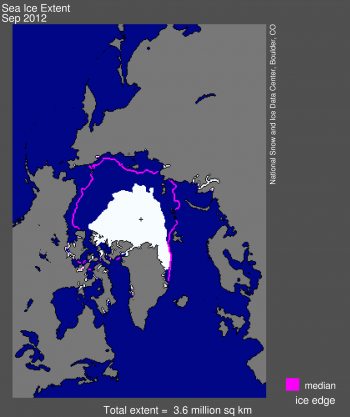 2012 Sea ice minimum; purple lines show normal (median) ice edge position.  Image courtesy National Snow and Ice Data Center.