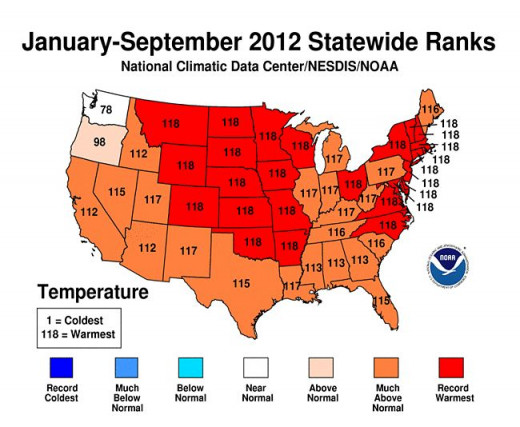 2012 to date statewide temperature rankings.  Image courtesy National Climate Data Center.