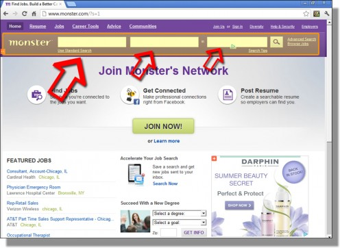 Monster.com's homepage (may differ in appearance)