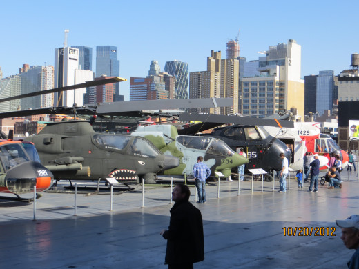 A view of the helicopters on the deck of the Intrepid