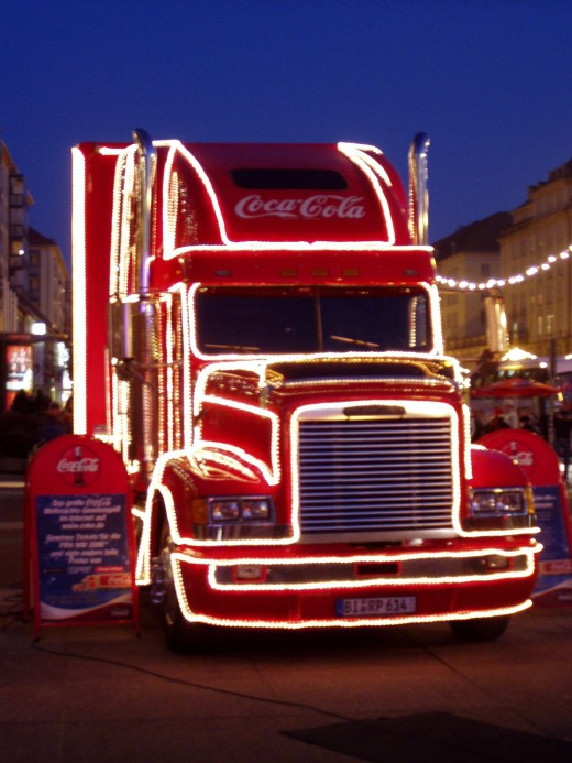 Freightliner Coca-Cola Christmas truck in Dresden, Germany.