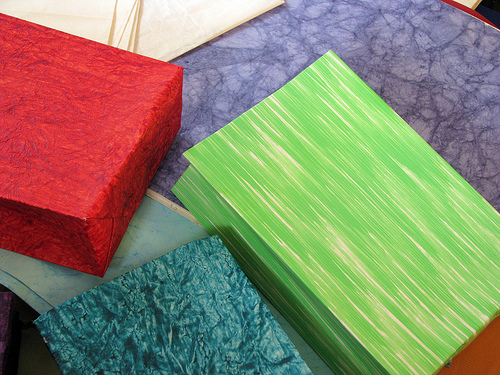 Handmade paper bags.