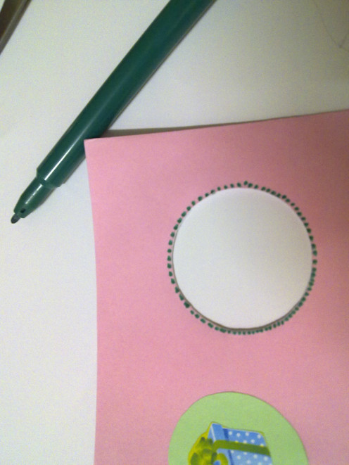Use green marker to draw the dotted lines around the cut out hole