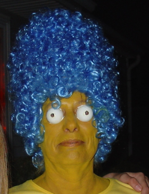 Marge Simpson - eyes were tennis balls cut in half.