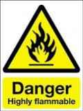 """EXTREMELY FLAMMABLE: The abbreviation for this symbol is """"F+""""  and is associated with chemicals that have an extremely low flash point and boiling point, and gases that catch fire in contact with air."""