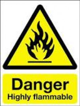 "EXTREMELY FLAMMABLE: The abbreviation for this symbol is ""F+""  and is associated with chemicals that have an extremely low flash point and boiling point, and gases that catch fire in contact with air."