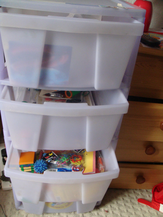 drawers for games and crafts