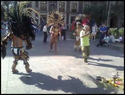 Mexica Dancers in the streets of Mexico.