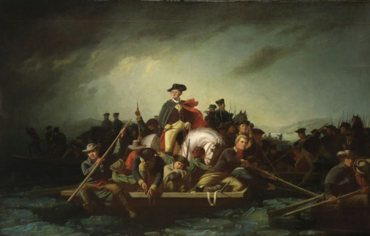 A realistic portrayal of George Washington on his trip across the Delaware.
