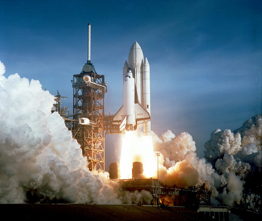 The Space Shuttle Columbia launches its first mission