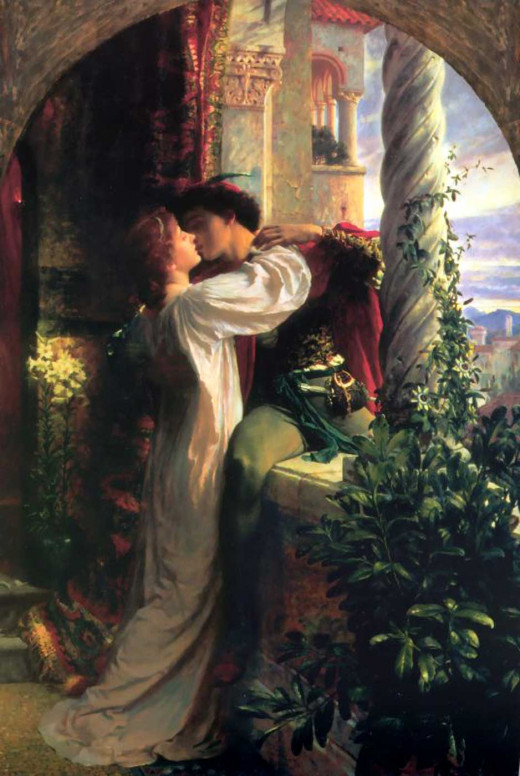 Romeo and Juliet kiss on the balcony, as immortalized by Frank Dicksee
