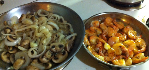 Fried Mushrooms and Onions and Cajun Fried Shrimp