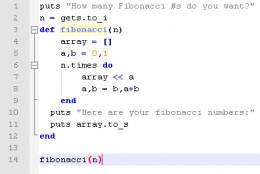 A sample program in the Ruby programming language that calculates Fibonacci to the nth number.