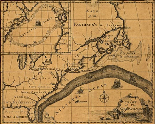 Franklin's map of the Gulf Stream current