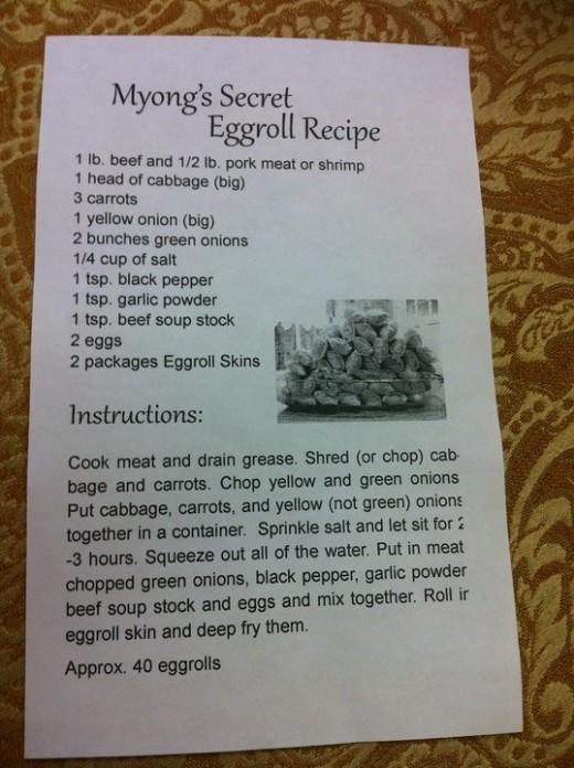 Original Egg Roll Recipe