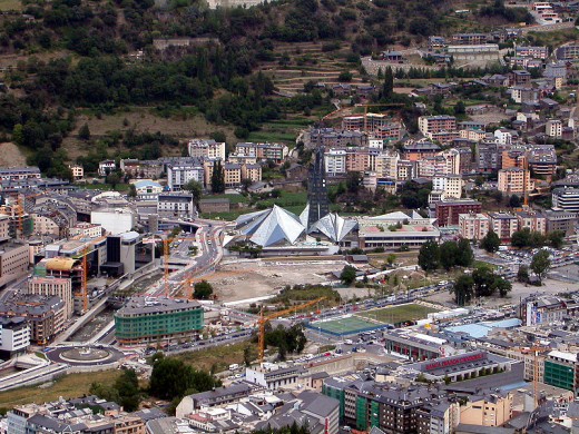 Karoly Lorentey took this photograph of Escaldes - Engordany including Caldea spa, in  Andorra la Vella, Andorra on September 12, 2005